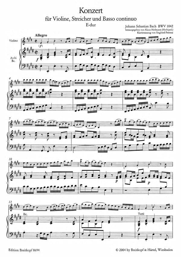Bach Violinkonzert E Dur